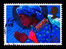 祈祷的天使,圣诞节1998年-天使serie,大约1998年 免版税库存图片