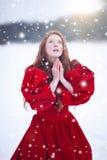 祈祷的妇女在冬天 免版税图库摄影