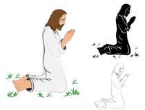 祈祷的耶稣基督 图库摄影