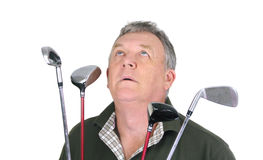 祈祷的高尔夫球运动员 免版税库存图片