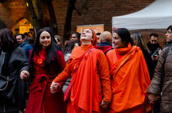祈祷Hinduist的妇女唱歌和 免版税库存照片