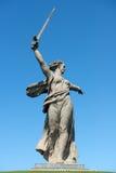 祖国电话在Mamayev库尔干 免版税库存图片