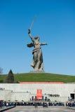 祖国电话的纪念碑在Mamayev库尔干 免版税库存照片