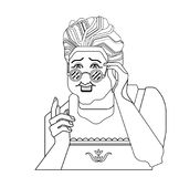 祖母姿态 老婆婆老妇人姿态 例证减速火箭的向量 相当玻璃的老妇人提一个建议 绿色backgro 皇族释放例证