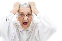 神经过敏的祖母 免版税库存照片