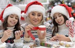 祖母画象有女孩的为圣诞节做准备 免版税库存图片