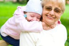 祖母画象有孙女的 图库摄影