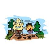 祖父和孩子 愉快的祖父母天海报 在动画片样式的传染媒介例证 库存图片