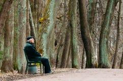 祖父坐一条长凳在春天公园 俄罗斯,圣彼德堡, 2017年4月 免版税库存图片