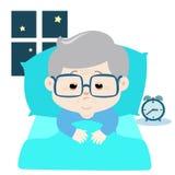 祖父失眠动画片传染媒介 免版税库存照片