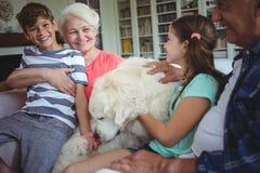 祖父母和孙坐有爱犬的沙发 库存图片
