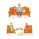 祖父母漫画人物 向量例证