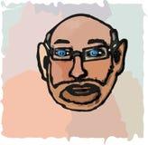 祖父面对与与胡子的玻璃 免版税库存照片