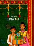 祝愿与消息的孩子屠妖节背景意味愉快的Deepawali 皇族释放例证