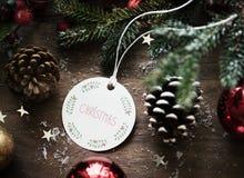 祝愿卡片标记的圣诞节特写镜头 库存图片
