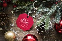 祝愿卡片标记的圣诞节特写镜头 免版税库存图片