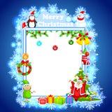 祝愿圣诞快乐的圣诞老人 免版税库存照片