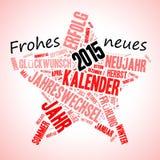 祝愿用德语Frohes的星形状 免版税库存图片