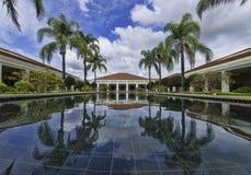 祝愿水池的尼克松图书馆 免版税库存照片