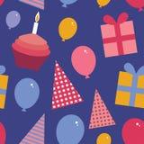 祝生日快乐无缝的样式 平的样式集合 与a的杯形蛋糕 免版税库存照片