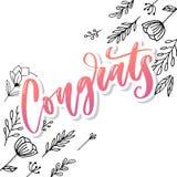 祝贺卡片、贺卡、邀请和印刷品的Congrats手书面字法 r ?? 库存例证