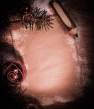 祝贺和铅笔的空白纸在木背景 图库摄影