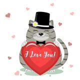 祝贺在华伦泰s天 在一条黑帽会议和弓领带的一只逗人喜爱的灰色猫坐并且拿着在它的爪子的一红心 库存例证