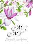 祝贺或邀请的模板对在绿色和桃红色颜色的婚礼 库存照片