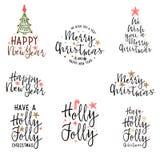 祝贺新年快乐和圣诞快乐,卡片、海报和盖子的书法 库存例证