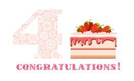 祝贺, 4年,草莓蛋糕,英语,白色,桃红色,传染媒介 免版税库存图片