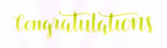 `祝贺`手在生动的草绿色颜色的字法题字,特别的某人的 库存例证