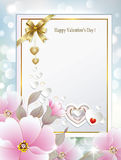 祝贺的卡片与花在情人节 免版税库存照片