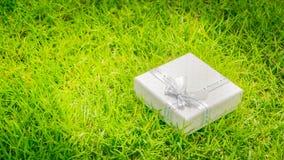 祝贺题目:相当有一条白色丝带的白色箱子与说谎在绿草的礼物 免版税库存照片