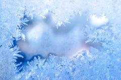神仙的冬天冰,在窗口,假日背景,分类的蓝色纹理 免版税图库摄影
