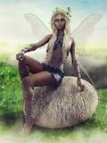 神仙的女孩坐岩石 皇族释放例证