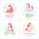 神仙的独角兽海报 甜从愉快的梦想可印的海报传染媒介集合的彩虹不可思议的独角兽 向量例证