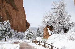 神公园的庭院在冬天 免版税库存图片