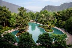 神圣中国人著名旅游风景点重庆东部温泉城的温泉 库存照片
