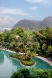神圣中国人著名旅游风景点重庆东部温泉城的温泉 免版税图库摄影