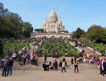神圣大教堂的重点 普遍的地标,最高的城市点 巴黎 库存图片