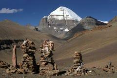 神圣的冈仁波齐峰的南面孔 免版税库存图片