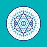 神圣的几何标志 抽象向量模式 神秘的传染媒介徽章 六角形商标 免版税图库摄影