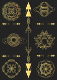 神圣的几何,向量图形设计元素 集合 免版税库存图片