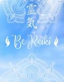 神圣的几何 做的能源强制日本ki寿命意味rei reiki符号二普遍性措辞字 词Reiki由两个日本词做成 免版税图库摄影