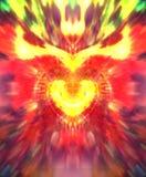 神圣的心脏标志抽象图表拼贴画与光芒四射的火焰的 向量例证