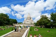 神圣的心脏(Basilique du Sacre-Coeur)的大教堂,巴黎, 库存照片