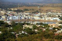 神圣的湖全视图在Pushkar,印度 免版税库存照片