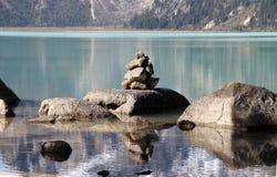神圣的湖在西藏 库存照片
