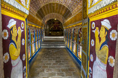 神圣的牙遗物的佛教寺庙的访客在康提,斯里兰卡,通过Ambarawa 免版税库存照片