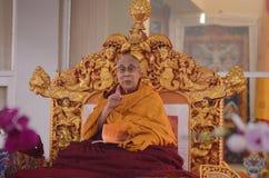 神圣达赖・喇嘛在Bodhgaya,印度 免版税图库摄影